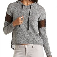 High-Low Mesh & Knit Hoodie by Charlotte Russe - Gray Combo