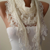 Creamy White Cotton and Summer Scarf with Creamy White Trim Edge - Summer Design