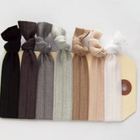 elastic hair ties neutral set of 7 hair accessories