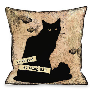 Cream 'So Good At Being Bad' Throw Pillow | zulily