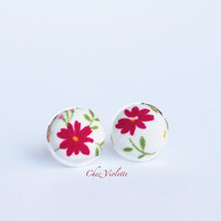 Tiny earrings stud, floral red stud earrings - small earring studs
