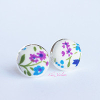 Tiny earrings stud, floral stud earrings, fabric post - small earring studs