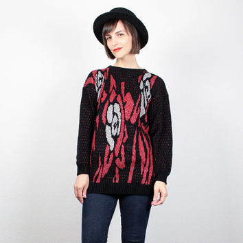 Vintage 80s Sweater Black Red Silver Floral Abstract Print Cosby Sweater Mod 1980s Jumper Metallic Knit New Wave Pullover M Medium L Large