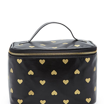 FOREVER 21 Heart Print Makeup Case Black/Gold One