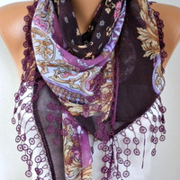 Damson Floral Scarf Fall Fashion Cotton Scarf Oversize Scarf Necklace Cowl Scarf Gift Ideas for Her Christmas Gift Women Fashion Accessories