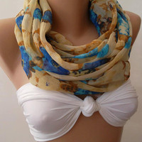 Dance of the Colors Collection ---Blue - caramel..... Infinity - Loop - Circle - Elegant - Chiffon - Feminine - Summer - Shawl - Scarf