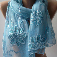 Blue - Elegant Shawl / Scarf.