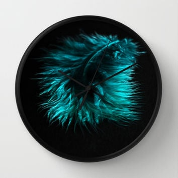 Feather in green-turquoise Wall Clock by VanessaGF | Society6
