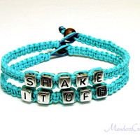 Shake It Off Bracelet Set, Teal Macrame Hemp Jewelry, Made to Order