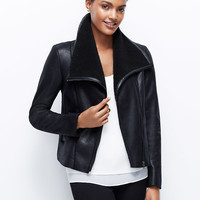 Faux Leather and Shearling Jacket