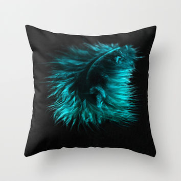 Feather in green-turquoise Throw Pillow by VanessaGF