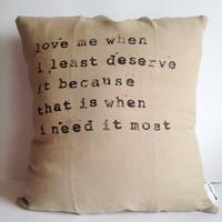 Linen Quote Pillow - Handmade Pillow Case - Natural Linen Pillow Cover