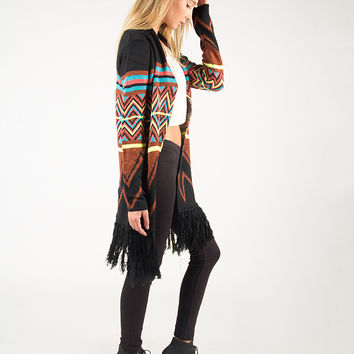 Tribal Fringed Knitted Neon Cardigan - Turquoise/Black /