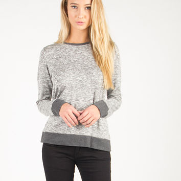 Round Neck Simple Side Slit Long Sleeve - Heather Gray /