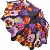Colorful Pansies Floral Print Umbrella - Unique Vintage - Bridesmaid & Wedding Dresses