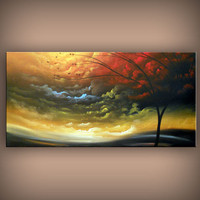 tree painting cloud art abstract large landscape painting big 48 x 24