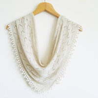 Beige Shawl / Turkish Handmade Scarf With Lace / High Quality Pashmina / Cotton