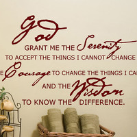 Serenity Prayer decal God Grant me the Serenity to accept the things I cannot change religios scripture