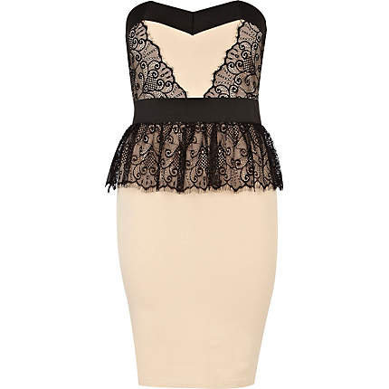 nude lace little mistress peplum dress