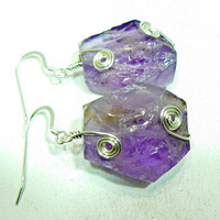 Ametrine rough cut earrings with silver spirals on .925 silver french style hooks