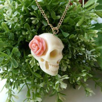 Rose Skull Necklace - Retro, Indie and Unique Fashion