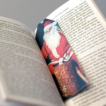 Santa bookmark recycled postcard Christmas Xmas holiday upcycled paper band bookmark