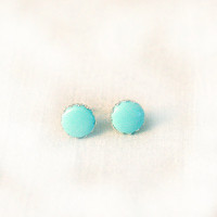 Icy blue stud earrings filigraine setting simple handmade earrings round nickel free
