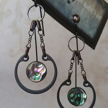 Steampunk Pendulum Earrings with Abalone Shell, Antiqued Copper, Black Oxide, and Carbon Steel Retaining Rings
