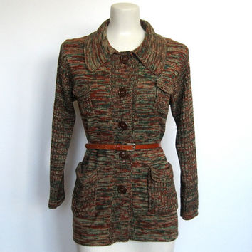 Vintage 1970s Boho / Hippie Green & Rust Space Dyed Knit Cardigan Sweater
