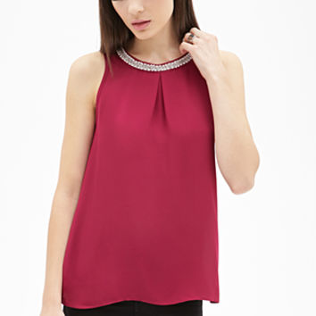 FOREVER 21 Faux Pearl Chiffon Top