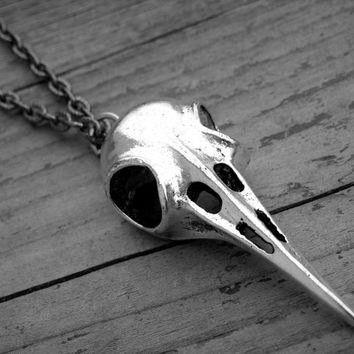 Halloween Jewelry Halloween Necklace Bird Skull Necklace Silver Bird Skull Jewelry Hummingbird Gothic Goth Witchcraft Witch Craft Occult