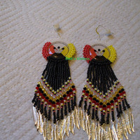 rosette beaded Three Feathers Four Directions earrings
