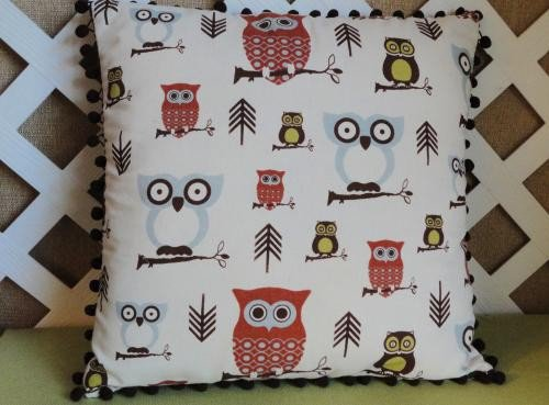 Owl Pillow Cover in Blue Grey Rust and Brown