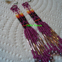 Square stitch beaded Two Feather earrings in Dark Rose