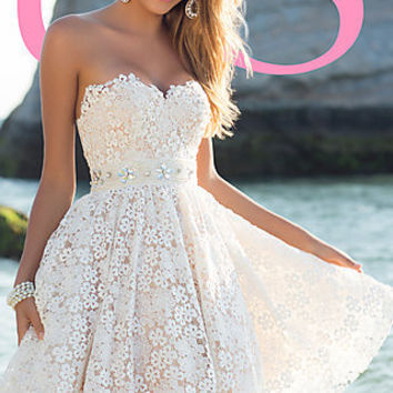 Short Strapless Sweetheart Lace Dress