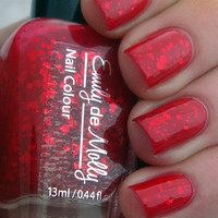 Red jelly nail polish - &quot;A beautiful mistake&quot; indie custom glitter nail polish