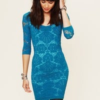 Free People 3/4 Seamless Medallion Bodycon Dress