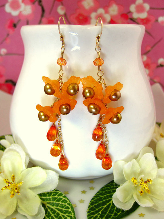 Orange sapphire resin orange cherry blossom earrings