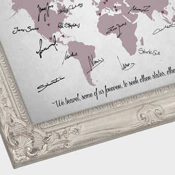 Wedding Guest Book Map - Custom Map - Custom Map Gift - Custom World Map - Sizes from 11x14 to 24x36 in