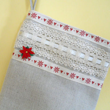 Christmas Stocking, Shabby Chic Linen Christmas Stocking, Linen Stocking. Santa Stocking