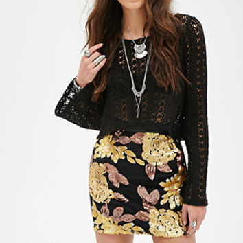FOREVER 21 Sequined Faux Leather Skirt Black/Gold