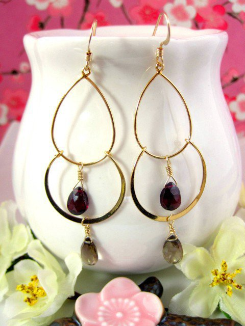Gold bohemian double hoop earrings