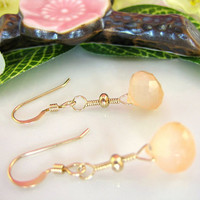 Peach chalcedony drop gold earrings