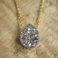 Silver Druzy Necklace Titanium Drusy 14K GF Cable Chain