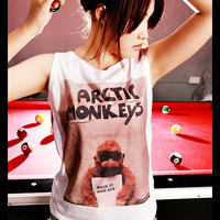 ARCTIC MONKEYS Suck It and See Indie Rock Crop Top Short Tank Top White Gold Shirt Women Size S M