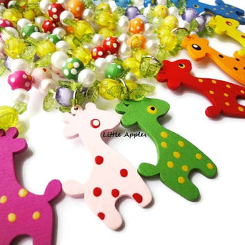 Children's wood beaded colorful chunky spotted giraffe long necklace, kids, toddler, girls, animal, jewelry, fun, jungle