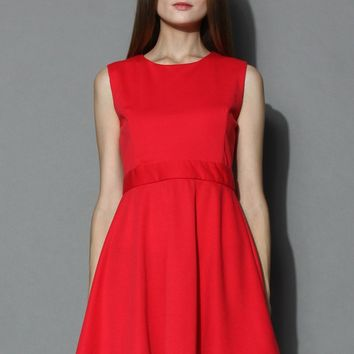 Clover Cutout Sleeveless Skater Dress in Red Red