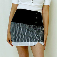 Vintage Inspired Mini Skirt Reversible Gray Black White Color block