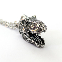 Tyrannosaurus Rex Necklace in Solid White Bronze with Sterling Silver Overlay T-Rex Head Pendant 359