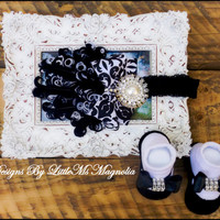 "Headband and  Sock Set, Black and White "" Lovely Little Missy"" For Newborn To Baby Girls, Infant Photography"